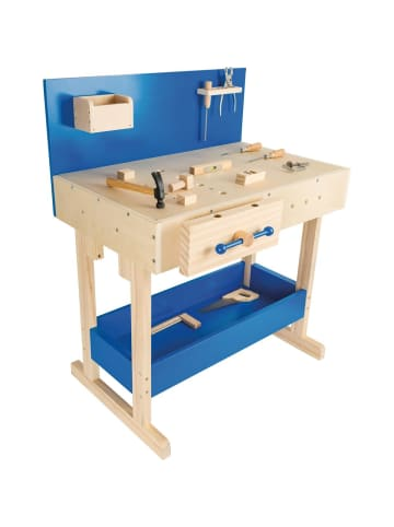 Small foot Kinderwerkbank mit Zubehör in blau, holz