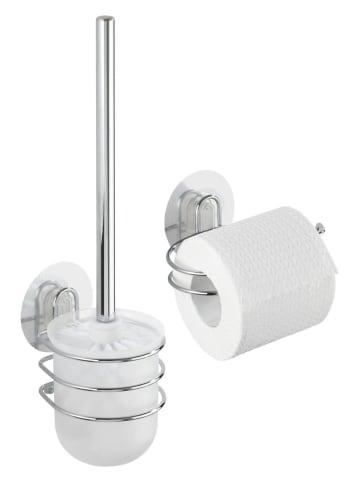 Wenko Static-Loc® WC-Garnitur und WC-Rollenhalter Osimo 2-teiliges Set, Befestigen ohne bohren in Chrom