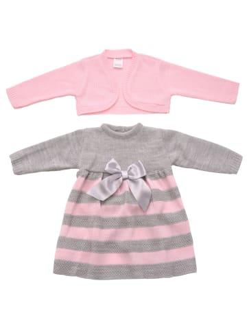 ANELY Bekleidungsset Kleid Jacke Strick Kombi Gestreift in Grau