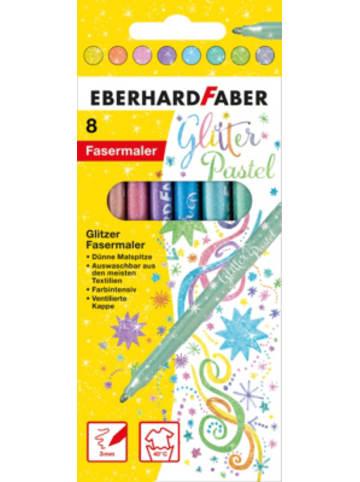 Eberhard Faber Glitzer-Fasermaler Pastell, 8 Farben