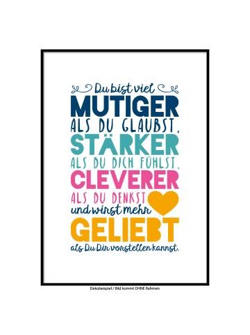 """SMART ART Kunstdrucke Kunstdruck / Poster """"Du wirst geliebt"""" Farbversion fünf / A4 oder A3"""