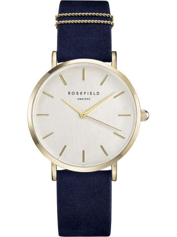 Rosefield 2tlg. Set: Quarzuhr inkl. Armband in Blau/ Gold/ Weiss