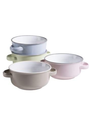 Mäser Suppentassen-Set, Keramik Maila in blau und grün und rosa und grau