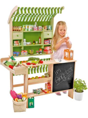 Chr. Tanner großer Biomarkt aus Holz mit 40 Miniaturverpackungen, Kaufladen