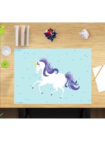 """Cover-your-desk.de  Schreibtischunterlage """"Einhorn Hellblau"""" Grösse 60x40 cm"""