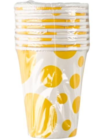 Amscan Becher Sunshine Yellow Dots, 8 Stück
