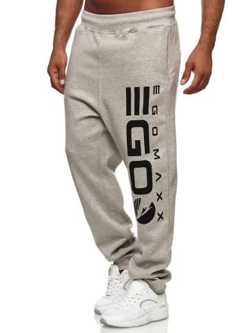 EGOMAXX Jogging Hose Baggy Sweat Pants lockere Tunnelzug in Hellgrau