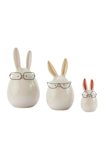 Pureday Deko-Figuren-Set, 3-tlg. Hasen mit Brille, Weiß