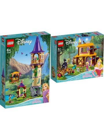 LEGO Disney Princess™ 2er Set: 43187 Rapunzels Turm + 43188 Auroras Hütte im Wald