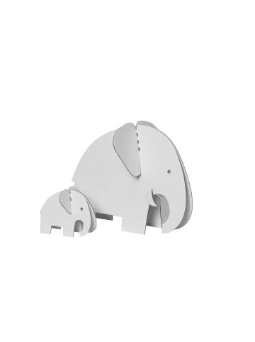 """Bibabox 4 tlg.-Set: Pappspielzeug """"Elefantenfamilie"""" in Weiß"""