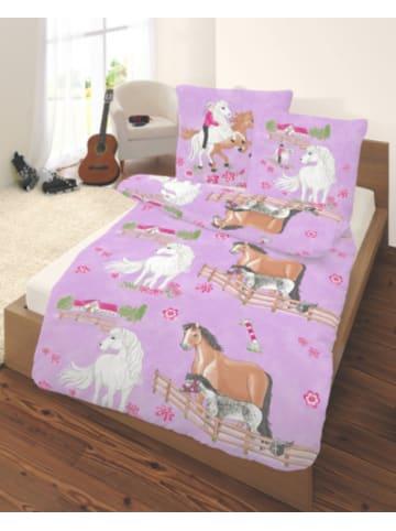 DOBNIG Pferdebettwäsche, Kinderbettwäsche Pferde, Linon, 135 x 200 cm