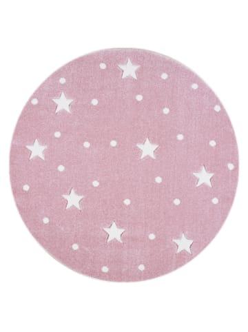 Livone Teppich HEAVEN rosa/weiss rund