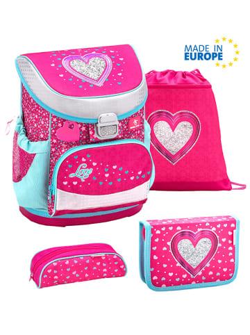 "Belmil 4tlg. Set: Schulranzen ""Mini Fit Heart"" in Pink - H 36 cm L 28 cm B 19 cm"