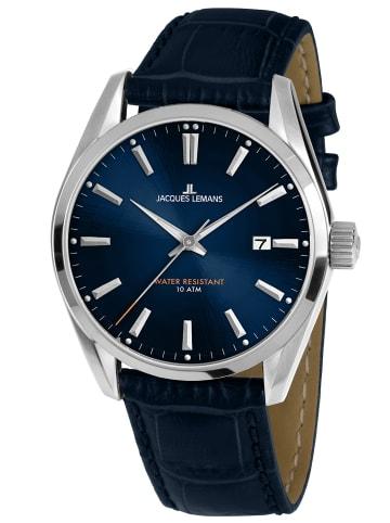 Jacques Lemans Herren-Armbanduhr Derby Blau / Silber