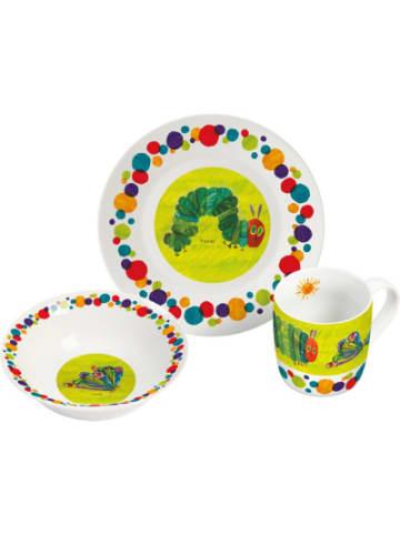 Geda Labels Kindergeschirr Porzellan Raupe Nimmersatt, grün, 3-tlg.