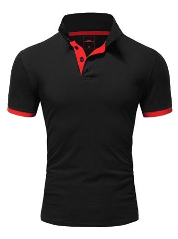 Behype Poloshirt BASE in schwarz-rot