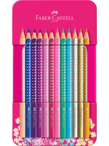 Faber-Castell Buntstifte Sparkle, 12 Farben, Metalletui