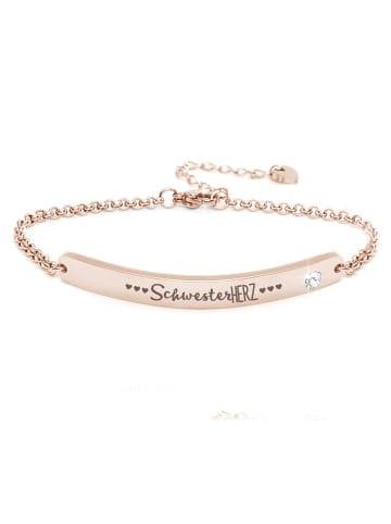 """Silvity Gravur-Armband """"Schwesterherz"""" mit einem Kristall Stein in Roségold"""