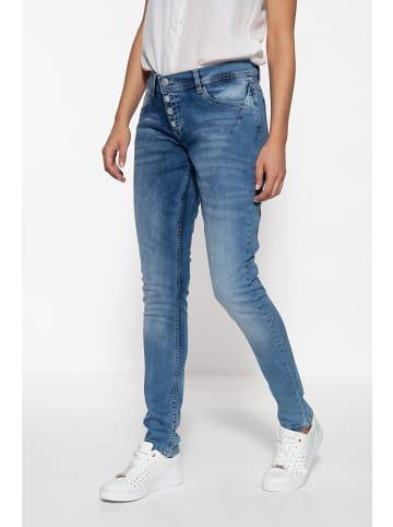 Way of Glory Way of Glory WAY OF GLORY Damen 5-Pocket Jeanshose mit asymmetischer Knopfleiste in blau