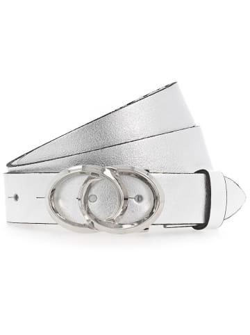 B.belt Gürtel Leder in silber metallic