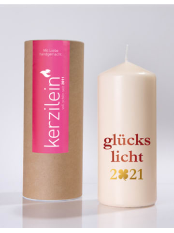 """Kerzilein Kerze """"Glückslicht 2021"""", H19 x Ø8 cm"""