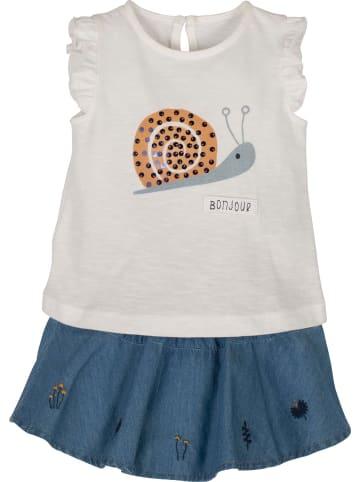 Mamino Kindermode Baby Mädchen Set Bluse mit Rock -Bonjour in jeans