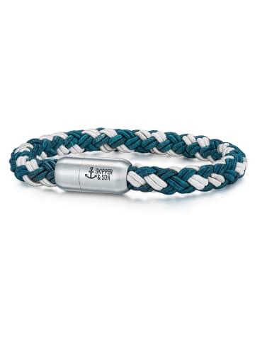 Skipper & Son Armband Nylonkordel in Blau / Weiß in blau/weiß