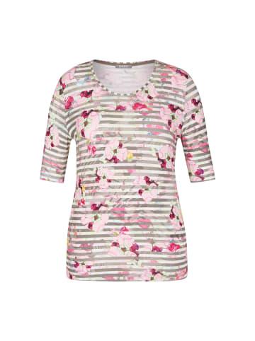 Rabe Shirt mit floralem Muster und Streifen in SALBEI