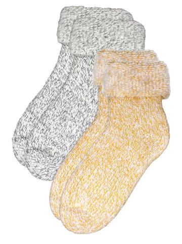 Rogo Socken in Gelb/Grau