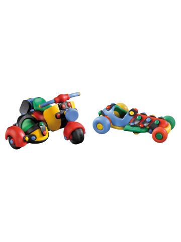 Mic o mic 2er-Set Bausatz: Motorrad mit Beiwagen und kleiner Rennwagen in Bunt
