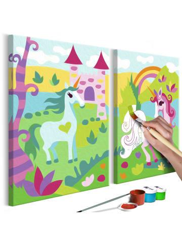 Artgeist Malen nach Zahlen Märchenhafte Einhörner in mehrfarbig