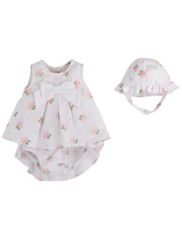 Mamino Kindermode Baby Mädchen Sommerliches 3-teiliges Set in Weiss
