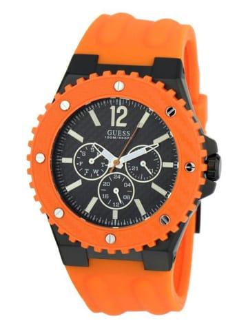 Guess Multi Zifferblatt Uhr 'Overdrive' in Schwarz/Orange
