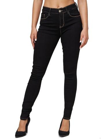 MiSS RJ Stretch Jeans Push Up High Waist Hose Dicke Naht Pants in Schwarz