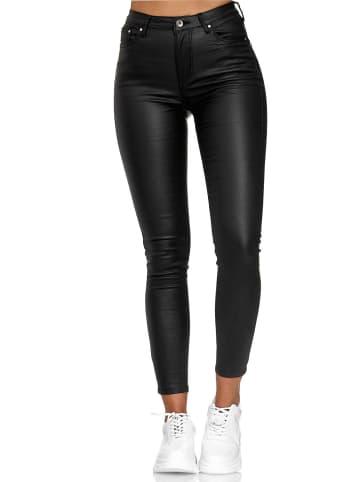 Newplay Hose Leder Optik Skinny Coated Lederimitat Pants in Schwarz