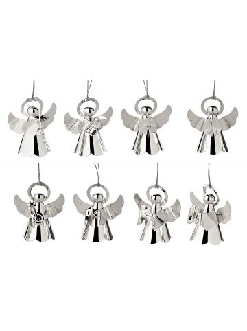 Edzard Weihnachtsfigur Engel mit Instrumenten in Silber, 8er Set Versilbert H 5 cm