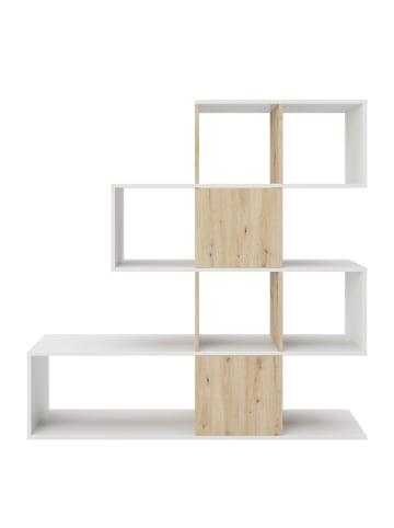 Phoenix Group AG  Staccato - Bücherregal, Büroregal, Raumteiler mit 2 geheimen Fächer, asymmetrische Aufteilung, weiss/artisan eiche, B/H/T: 132,1x132,3x31cm