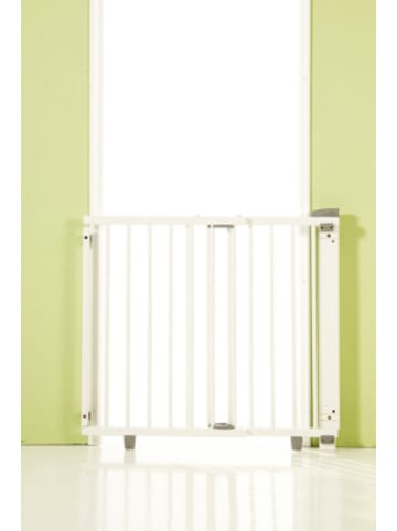 Geuther Türschutzgitter schwenkbar, Buche massiv, weiß lackiert, 86 -133 cm