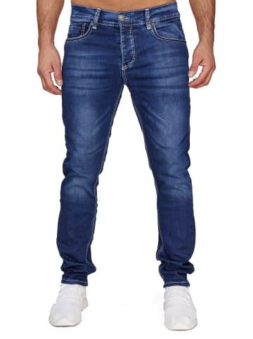 AMICA JEANS Denim Jeans Dicke Weiße Nähte Hose Big Seam in Dunkelblau