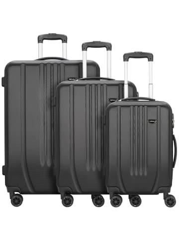 Nowi Hardshelled 3.0 4-Rollen Kofferset 3tlg. mit Doppelrollen in schwarz