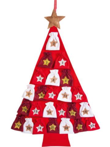 Hotex Adventskalender Baum weiß/rot, 80 x 115 cm