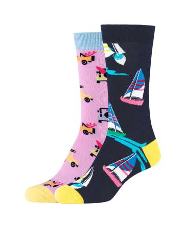 Fun Socks 2er-Pack Damen Crew Socks in black mix