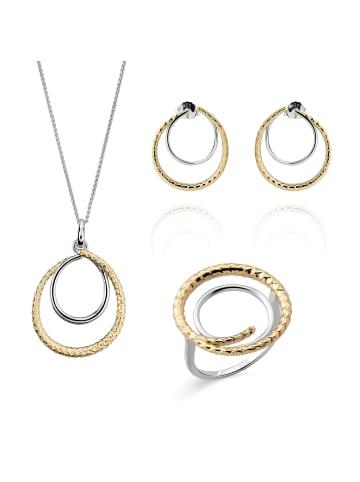 Orphelia 3tlg. Set: Halskette + Ohrring + Ringe in Sterling Silber 925 in Silber/Gold