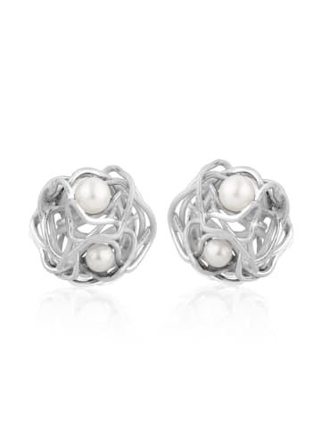 Nenalina Ohrringe 925 Sterling Silber Perle in Silber