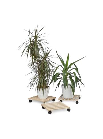 Relaxdays 3x Pflanzenroller in Natur - (B)35 x (H)7,5 x (T)35 cm