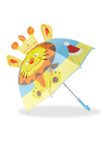 Relaxdays Kinderregenschirm Löwe in Blau