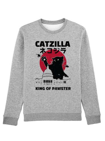 Wat? Apparel Sweatshirt Catzilla in Grau meliert
