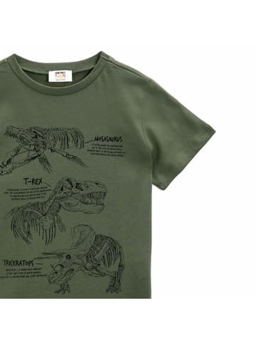 Mamino Kindermode Jungen T-Shirt -Dino in dunkelgrün