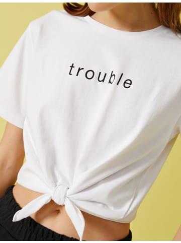 KOTON Damen T-Shirt -trouble in weiss