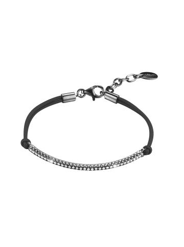 ESPRIT Esprit Damenarmband in Silber/Schwarz aus 925er Sterling-Silber und Textil